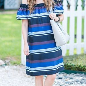 Banana Republic Striped off the shoulder dress
